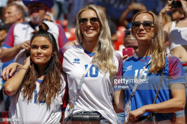 fans of Iceland with in the middle Alexandra Helga Ivarsdottir during the 2018 FIFA World Cup Russia group D match between Argentina and Iceland at...