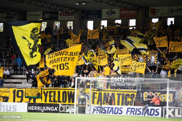 Fans of IF Elfsborg during the Allsvenskan match between IF Elfsborg and Ostersunds FK at Boras Arena on August 6 2018 in Boras Sweden
