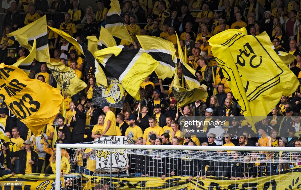 Fans of IF Elfsborg during the Allsvenskan match between IF Elfsborg and Hammarby at Boras Arena on July 17, 2017 in Boras, Sweden.