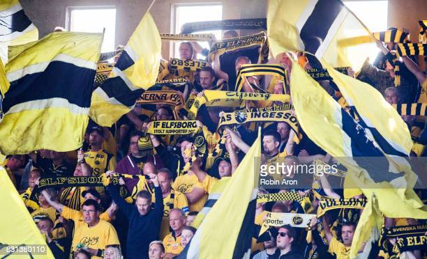 Fans of IF Elfsborg during the Allsvenskan match between IF Elfsborg and IFK Goteborg at Boras Arena on August 14 2017 in Boras Sweden