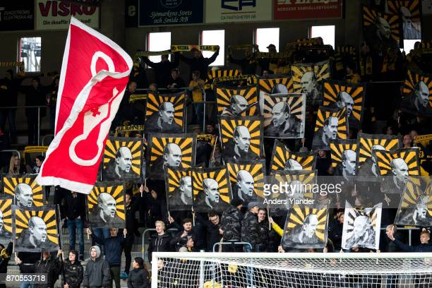 Fans of IF Elfsborg during the Allsvenskan match between IF Elfsborg and IFK Norrkoping at Boras Arena on November 5 2017 in Boras Sweden
