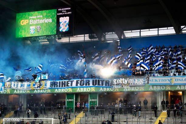 Fans of IFK Goteborg before the Allsvenskan match between IFK Goteborg and GIF Sundvall at Gamla Ullevi on November 5 2017 in Gothenburg Sweden