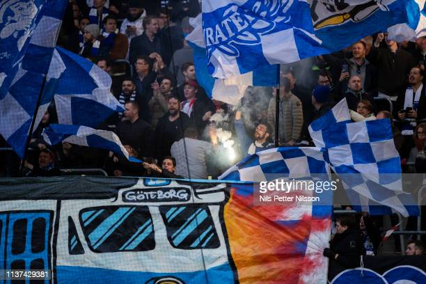 Fans of IFK Goteborg during the Allsvenskan match between Djurgardens IF and IFK Goteborg at Tele2 Arena on April 15 2019 in Stockholm Sweden