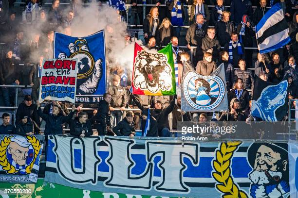Fans of IFK Goteborg during the Allsvenskan match between IFK Goteborg and GIF Sundvall at Gamla Ullevi on November 5 2017 in Gothenburg Sweden