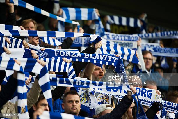 Fans of IFK Goteborg during the match between IFK Goteborg and Kalmar FF at Gamla Ullevi on October 31 2015 in Gothenburg Sweden