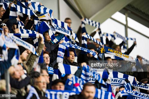 Fans of IFK Goteborg holding scarfs before the Allsvenskan match between IFK Goteborg and GIF Sundvall at Gamla Ullevi on November 5 2017 in...