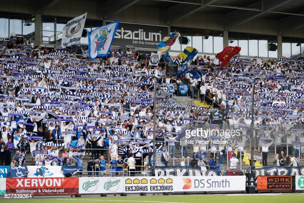 Fans of IFK Norrkoping during the Allsvenskan match between IFK Norrkoping and Athletic FC Eskilstuna at Ostgotaporten on August 7, 2017 in...