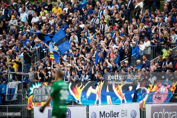 Fans of IK Sirius FK during the Allsvenskan match between IK Sirius FK and BK Hacken at Studenternas IP on May 19 2019 in Uppsala Sweden