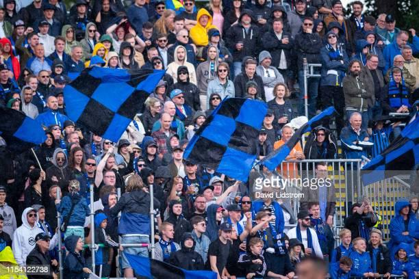 Fans of IK Sirius FK during the Allsvenskan match between IK Sirius FK and Ostersunds FK at Studenternas IP on July 6 2019 in Uppsala Sweden