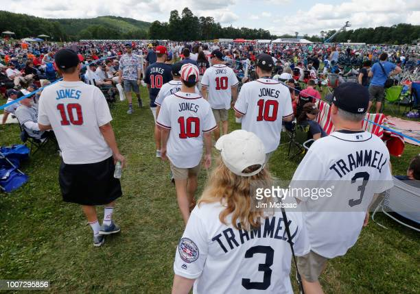 Fans of inductee Chipper Jones and Alan Trammell attend the Baseball Hall of Fame induction ceremony at Clark Sports Center on July 29, 2018 in...