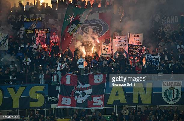 Fans of Internazionale Milano before the Serie A match between FC Internazionale Milano and AC Milan at Stadio Giuseppe Meazza on April 19 2015 in...