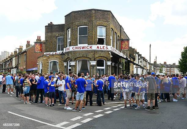 Fans of Ipswich Town gather by a local pub during the Sky Bet Championship match between Brentford and Ipswich Town at Griffin Park on August 8 2015...