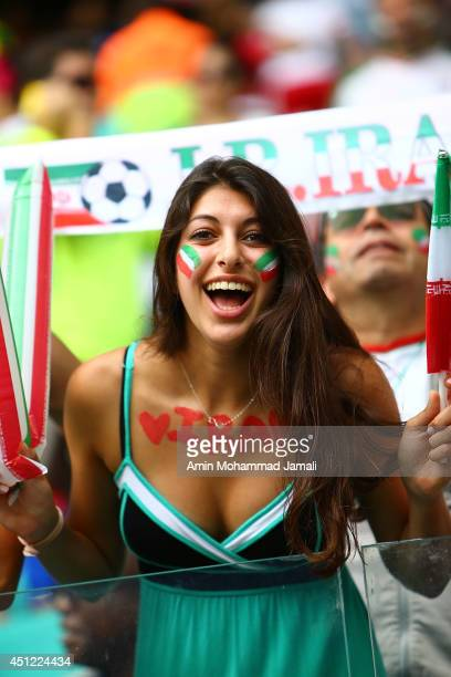 Fans of Iran look on during the 2014 FIFA World Cup Brazil Group F match between Bosnia and Herzegovina and Iran at Arena Fonte Nova on June 25 2014...
