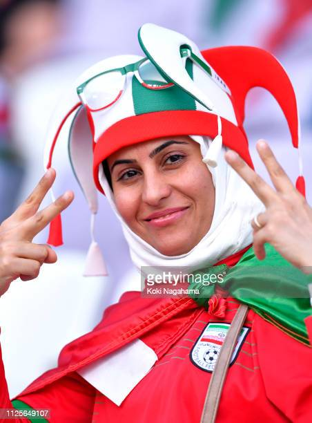 Fans of Iran show their support ahead of the AFC Asian Cup semi final match between Iran and Japan at Hazza Bin Zayed Stadium on January 28 2019 in...