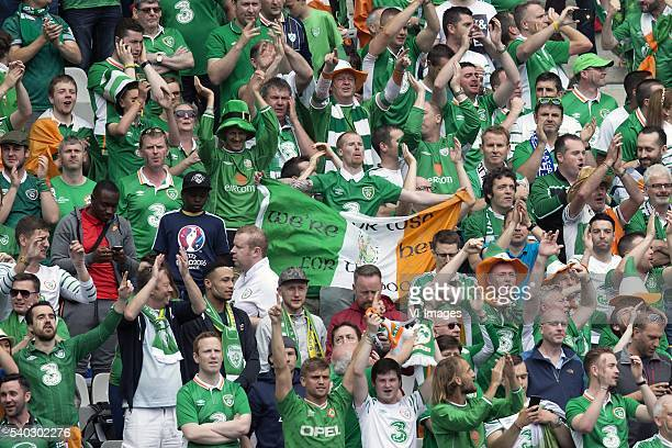 fans of Ireland during the UEFA EURO 2016 Group E group stage match between Republic of Ireland and Sweden at the Stade de France on june 13 2016 in...