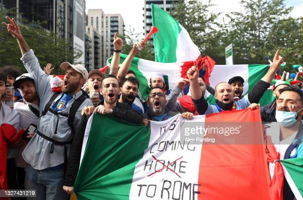 Fans of Italy show their support of Wembley Way during the UEFA Euro 2020 Championship Semi-final match between Italy and Spain at Wembley Stadium on...