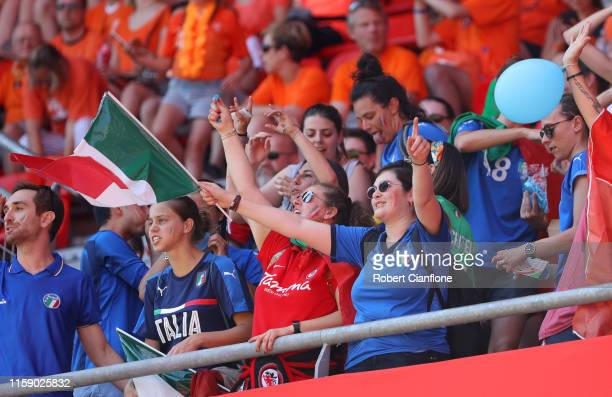 Fans of Italy show their support prior to the 2019 FIFA Women's World Cup France Quarter Final match between Italy and Netherlands at Stade du...