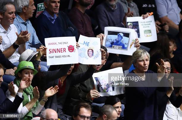Fans of Jannik Sinner of Italy show their support as he plays Mikael Ymer of Sweden during Day Two of the Next Gen ATP Finals at Allianz Cloud on...
