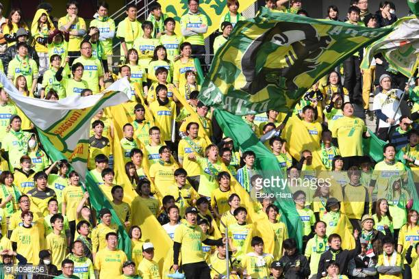 Fans of JEF United Chiba cheer during the preseason friendly match between JEF United Chiba and Kashiwa Reysol at Fukuda Denshi Arena on February 4...