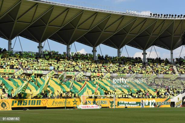 Fans of JEF United Chiba cheer prior to the preseason friendly match between JEF United Chiba and Kashiwa Reysol at Fukuda Denshi Arena on February 4...