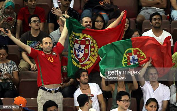 Fans of Joao Sousa of Portugal cheers during the Singles Final match during Day Seven of the 2013 Malaysian Open at Putra Stadium on September 29...