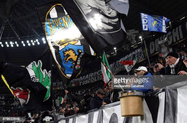 Fans of Juventus before the Serie A match between Juventus and FC Crotone at Allianz Stadium on November 26 2017 in Turin Italy