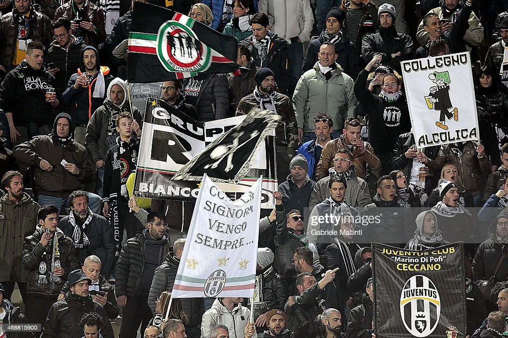 Fans of Juventus FC during the TIM cup match between ACF Fiorentina and Juventus FC at Artemio Franchi on April 7, 2015 in Florence, Italy.