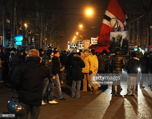 Fans of Juventus FC gather outdide the stadium before the Serie A match between Juventus FC and AS Roma at Olimpico Stadium on January 23 2010 in...