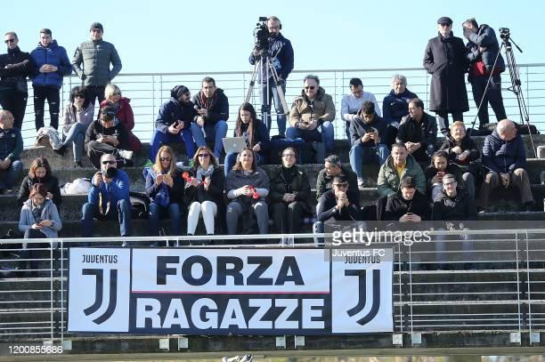 Fans of Juventus Women U19 during the Viareggio Women's Cup match between Juventus U19 and FC Internazionale U19 on February 15 2020 in Lido di...