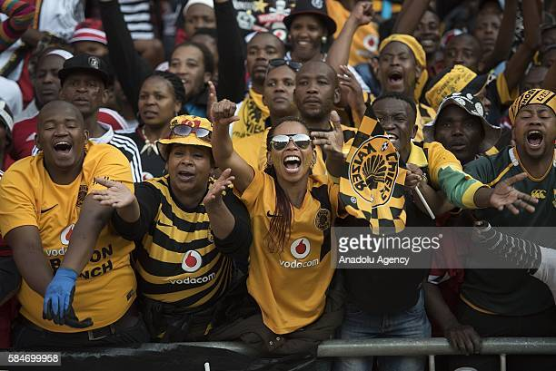 Fans of Kaizer Chiefs FC support their team during Ekstein Hendrick Kaizer Chiefs FC during 2016 Carling Black Label Cup between Kaizer Chiefs FC and...