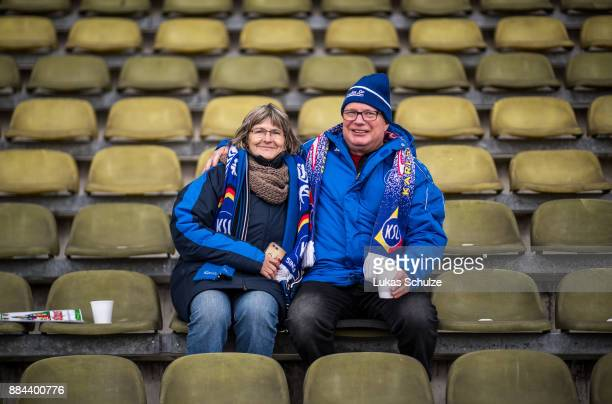 Fans of Karlsruhe wait for the kickoff prior to the 3 Liga match between Karlsruher SC and VfR Aalen at Wildparkstadion on December 2 2017 in...