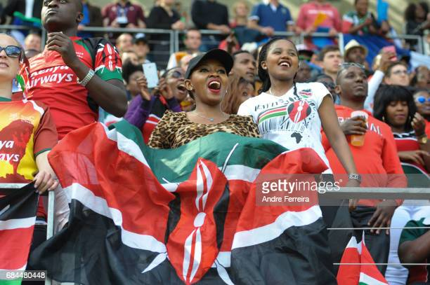 Fans of Kenya during the match between Kenya and Spain at the HSBC Paris Sevens stage of the Rugby Sevens World Series on May 13 2017 in Paris France