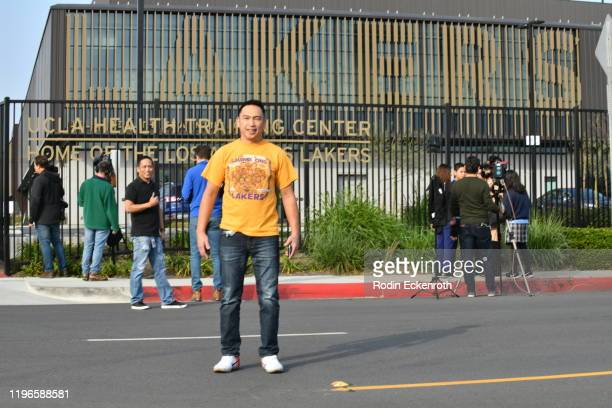 Fans of Kobe Bryant are seen outside the UCLA Health Training Center where the Los Angeles Lakers train on January 26 2020 in Los Angeles California...