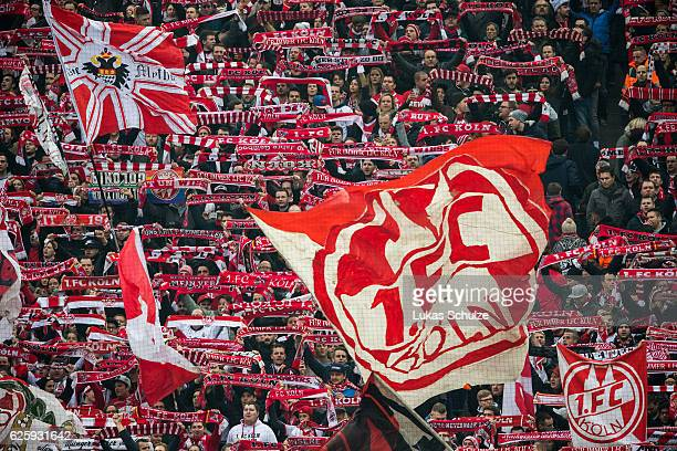 Fans of Koeln are seen during the Bundesliga match between 1 FC Koeln and FC Augsburg at RheinEnergieStadion on November 26 2016 in Cologne Germany