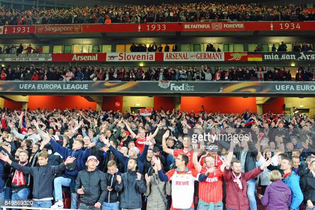 Fans of Koeln are seen during the UEFA Europa League group H match between Arsenal FC and 1 FC Koeln at Emirates Stadium on September 14 2017 in...
