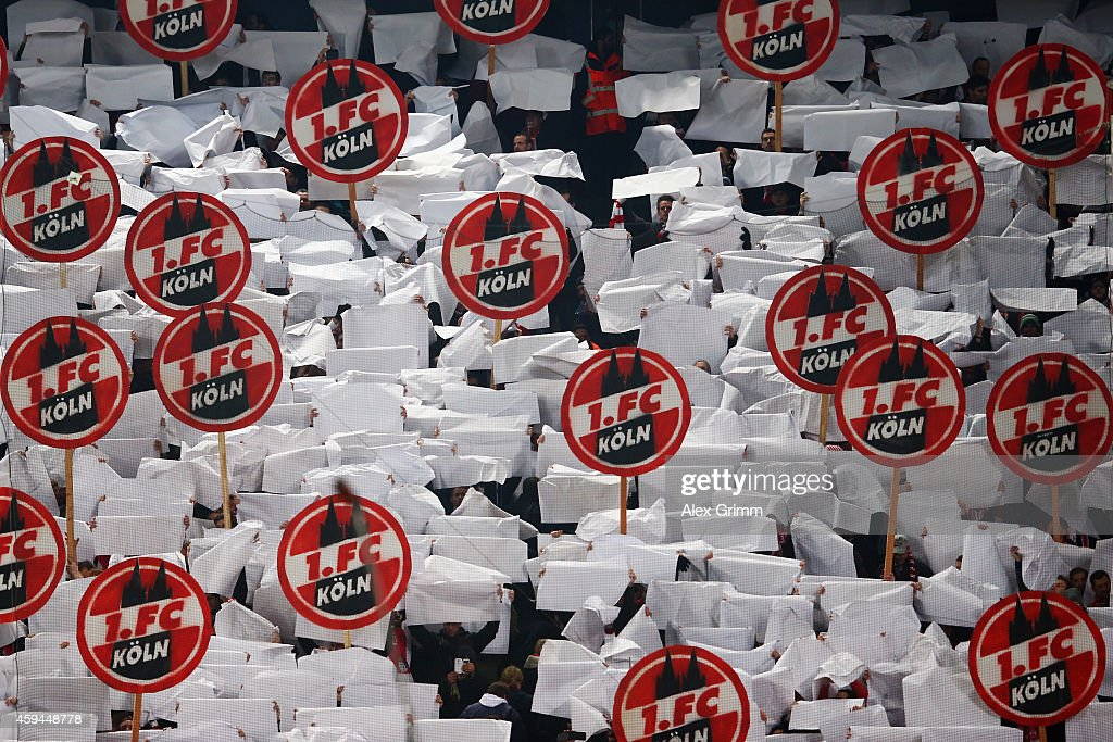 Fans of Koeln hold up their placards during the Bundesliga match between 1. FC Koeln and Hertha BSC at RheinEnergieStadion on November 22, 2014 in Cologne, Germany.