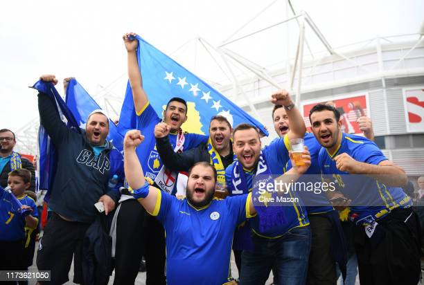 Fans of Kosovo show their support ahead of the UEFA Euro 2020 qualifier match between England and Kosovo at St Mary's Stadium on September 10 2019 in...