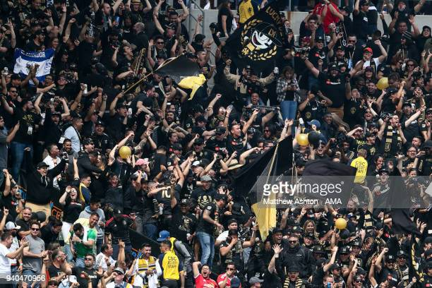 Fans of LAFC during the MLS match between Los Angeles FC and Los Angeles Galaxy at StubHub Center on March 31 2018 in Carson California