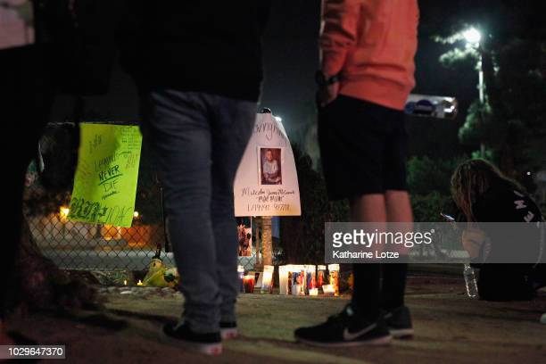 Fans of late rapper Mac Miller gather at a memorial at the corner of Fairfax and Melrose Avenues on September 8 2018 in Los Angeles California Miller...