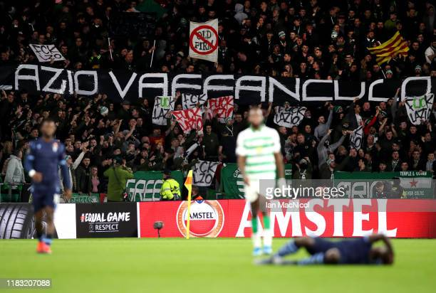 Fans of Lazio show their support during the UEFA Europa League group E match between Celtic FC and Lazio Roma at Celtic Park on October 24 2019 in...