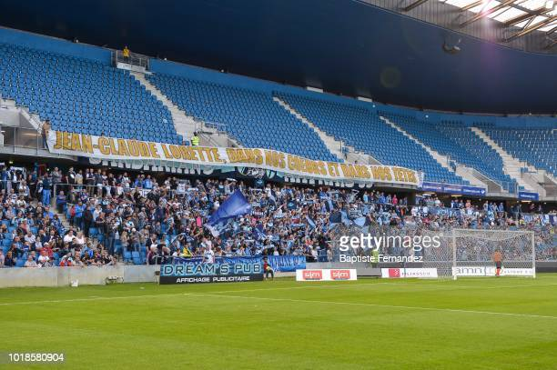 Fans of Le Havre during the French Ligue 2 match between Le Havre and Clermont on August 17 2018 in Le Havre France