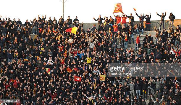 Fans of Lecce show their support during the Serie A match between US Lecce and US Citta di Palermo at Stadio Via del Mare on February 6 2011 in Lecce...