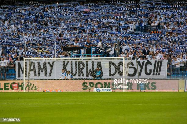 Fans of Lech Poznan attend during Playoff Polish League football match between Lech Poznan and Legia Warsaw at Miejski Stadium in Poznan Poland on...