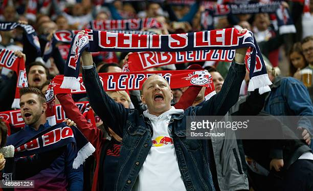 Fans of Leipzig celebrate prior to the Second Bundesliga match between RB Leipzig and SC Freiburg at Red Bull Arena on September 24 2015 in Leipzig...