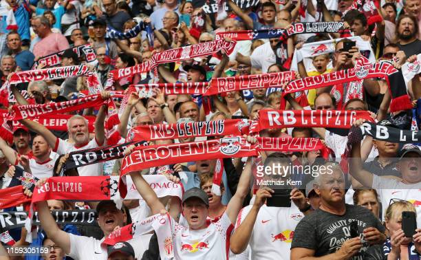 Fans of Leipzig cheer their team during the pre-season friendly match between RB Leipzig and Aston Villa at Red Bull Arena on August 3, 2019 in...