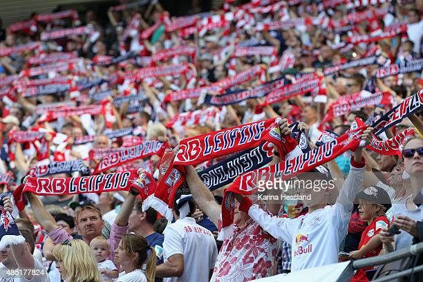 Fans of Leipzig during the Second League match between RB Leipzig and FC StPauli at RedBull Arena on August 23 2015 in Leipzig Germany