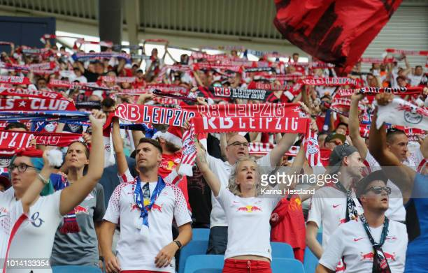 Fans of Leipzig during the UEFA Europa League Third Qualifying Round 1st leg between RB Leipzig and Universitatea Craiova at Red Bull Arena on August...