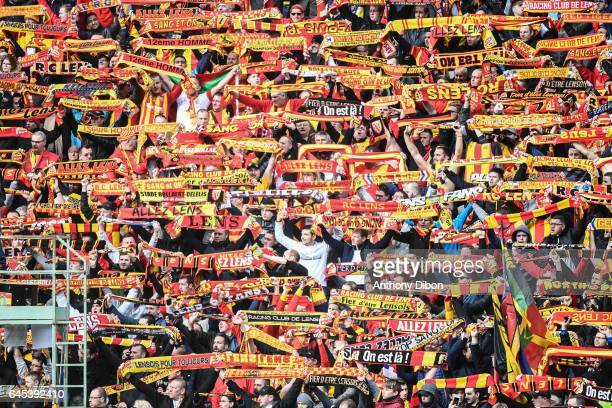 Fans of Lens during the French Ligue 2 match between Lens and Valenciennes at Stade BollaertDelelis on February 25 2017 in Lens France