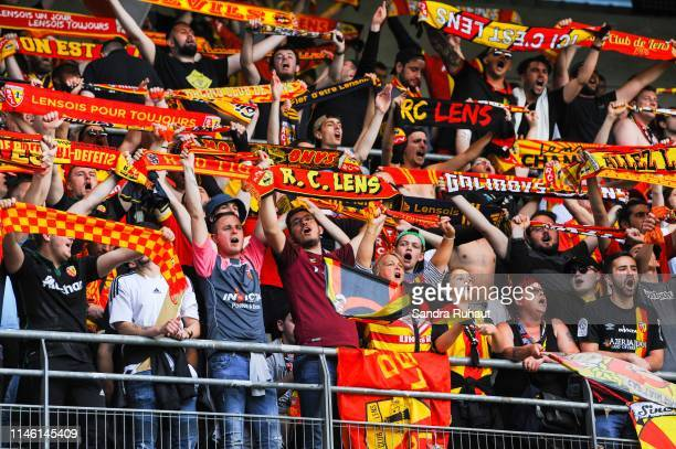 Fans of Lens during the Ligue 2 match between Troyes and Lens on May 24 2019 in Troyes France