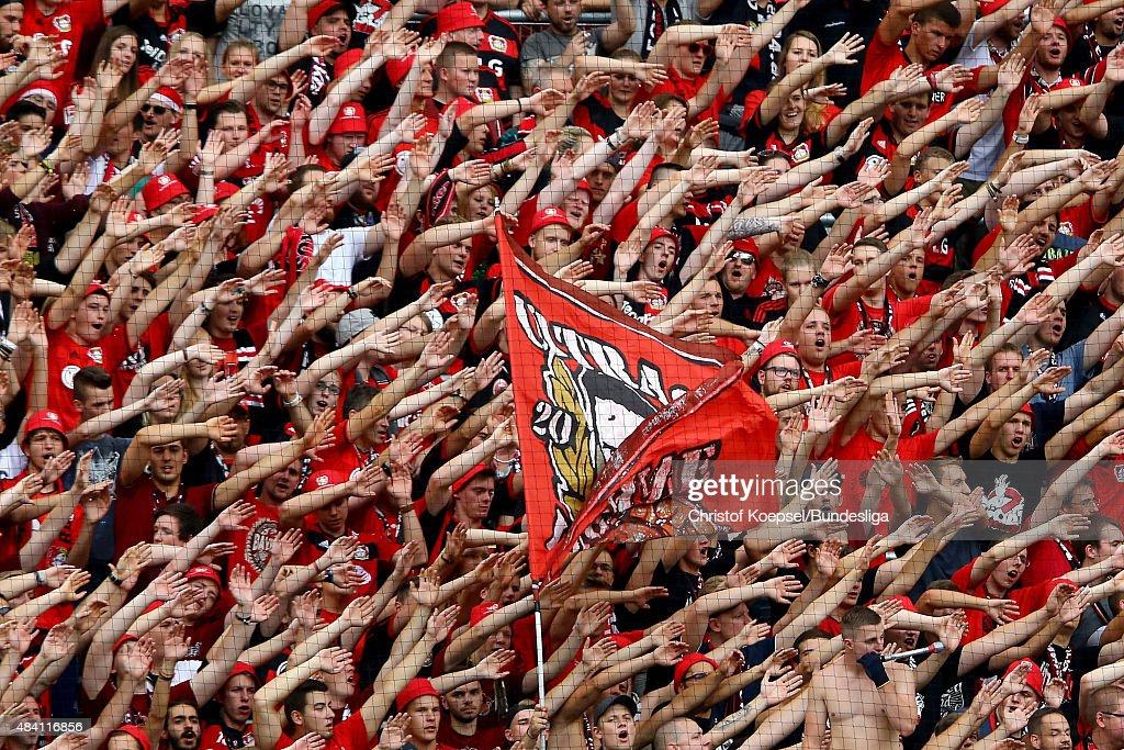 Fans of Leverkusen celebrate during the Bundesliga match between Bayer Leverkusen and 1899 Hoffenheim at BayArena on August 15, 2015 in Leverkusen, Germany.